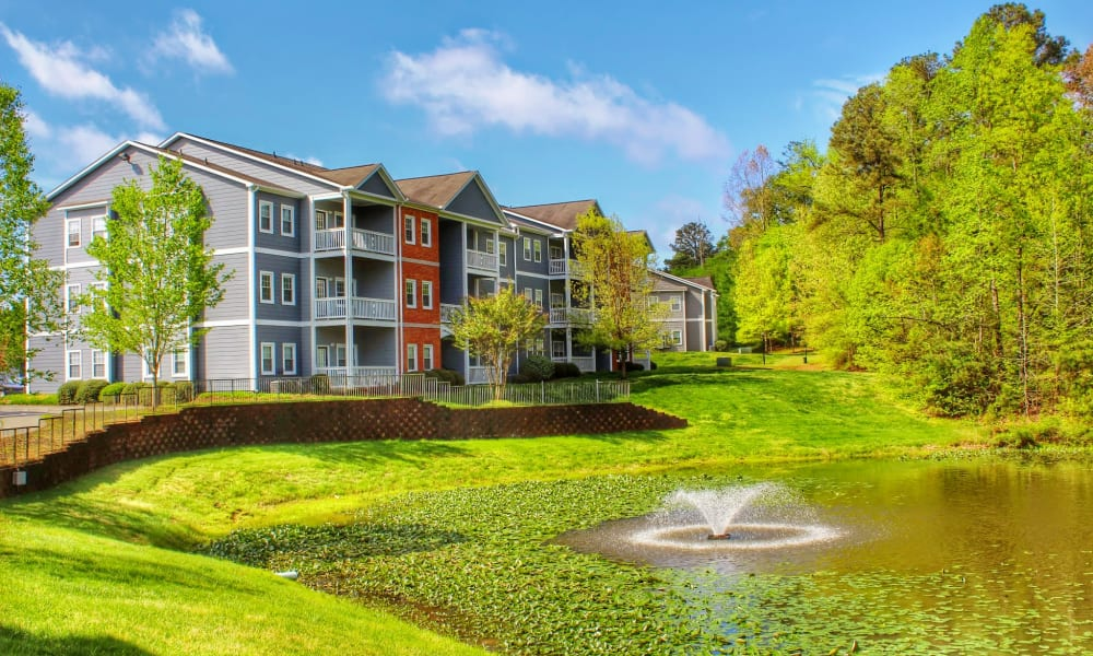 Beautiful pond at The Flats @ 55 Twelve in Durham, North Carolina