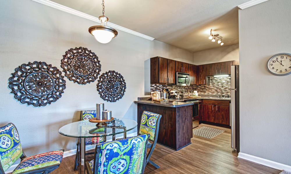 Kitchen and dining areaa t The Flats @ 55 Twelve in Durham, North Carolina