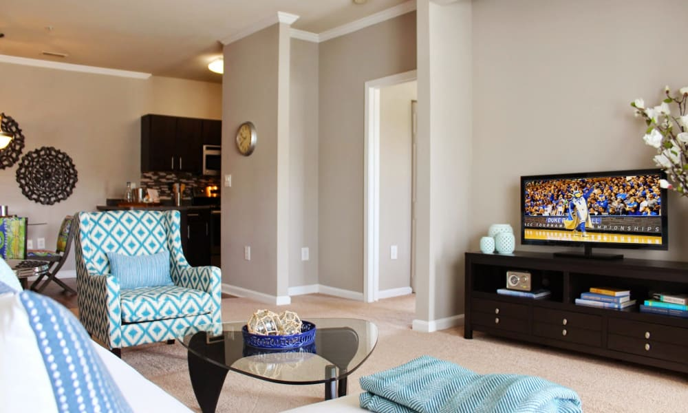 Model living room at The Flats @ 55 Twelve in Durham, North Carolina