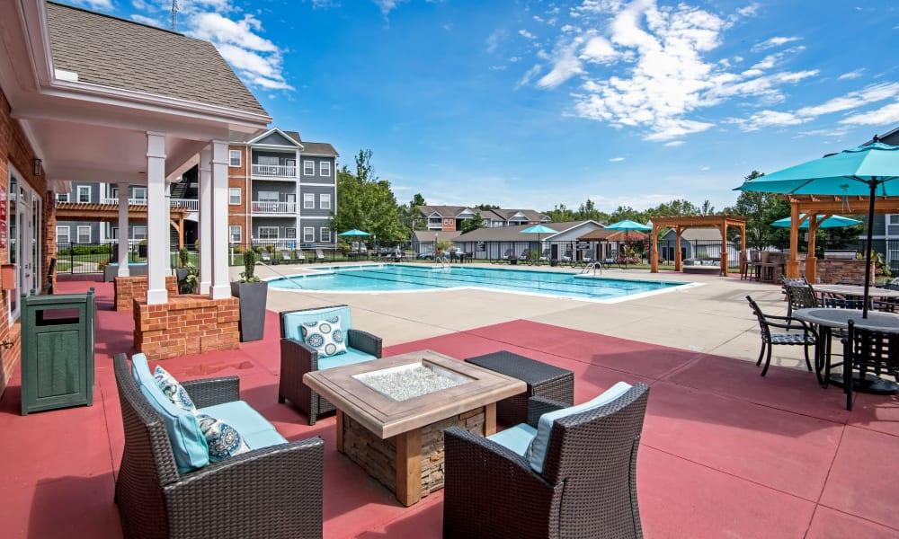 Pool patio at The Flats @ 55 Twelve in Durham, North Carolina
