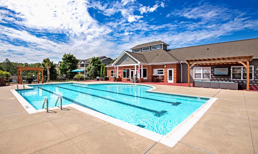 Swimming pool at The Flats @ 55 Twelve in Durham, North Carolina