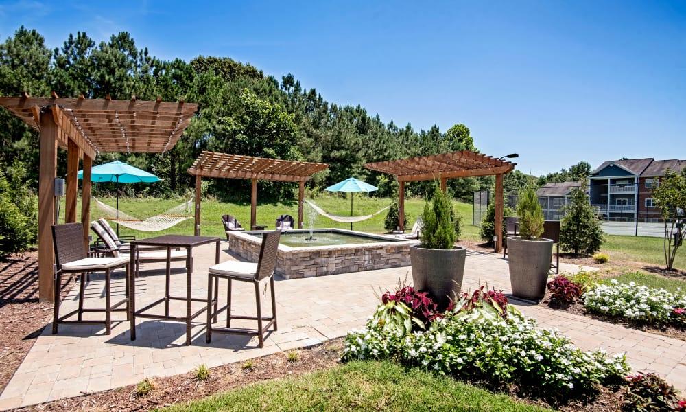 Outdoor hammocks at The Flats @ 55 Twelve in Durham, North Carolina