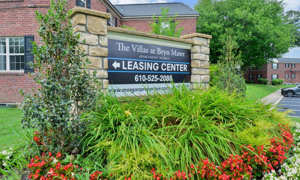 Sign at The Villas at Bryn Mawr Apartment Homes in Bryn Mawr, Pennsylvania