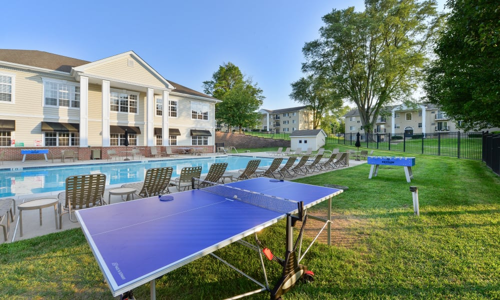 Outdoor ping pong table at Stonegate at Devon Apartments in Devon, PA