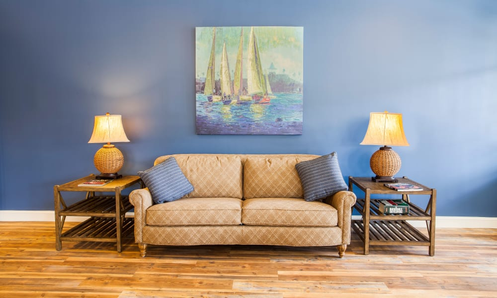 A quite couch for residents at Keystone Place at  Buzzards Bay's fireplace in Buzzards Bay, Massachusetts