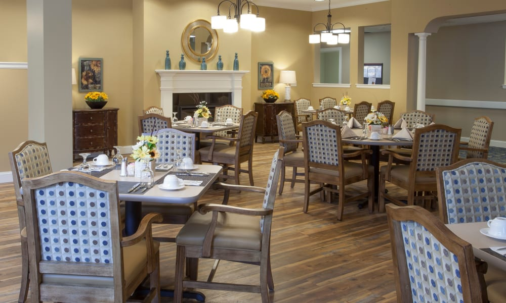 Tables in the dining room at Keystone Place at  Buzzards Bay in Buzzards Bay, Massachusetts