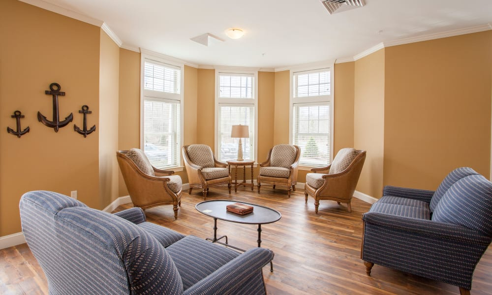 Inviting lounge seating at Keystone Place at  Buzzards Bay in Buzzards Bay, Massachusetts