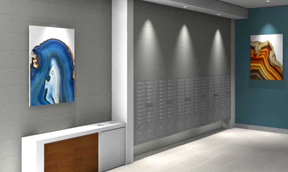 Rendering of resident mailbox area at Fenton Silver Spring in Silver Spring, Maryland.