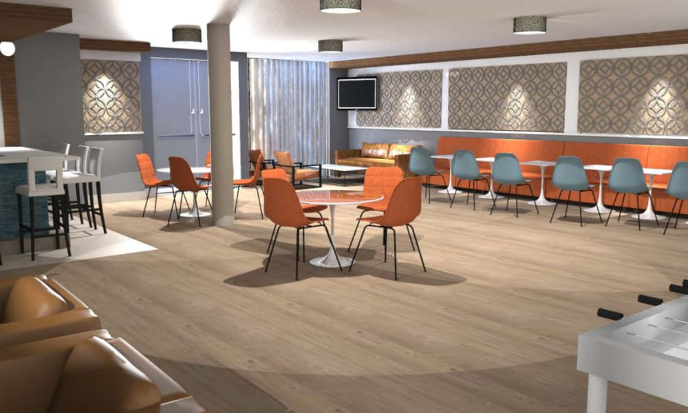 Rendering of spacious clubroom at Fenton Silver Spring in Silver Spring, Maryland.