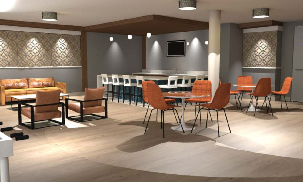 Rendering of clubroom at Fenton Silver Spring in Silver Spring, Maryland