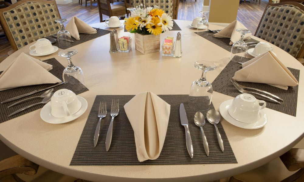 Table set in the dining hall at Keystone Place at Forevergreen in North Liberty, Iowa