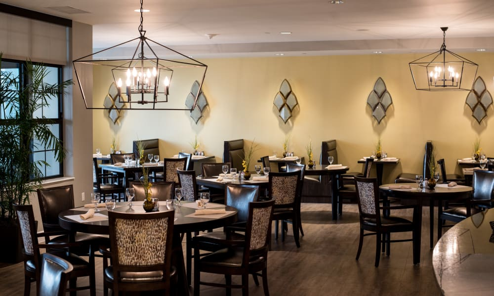 The large dining room at Keystone Place at Four Mile Cove in Cape Coral, Florida