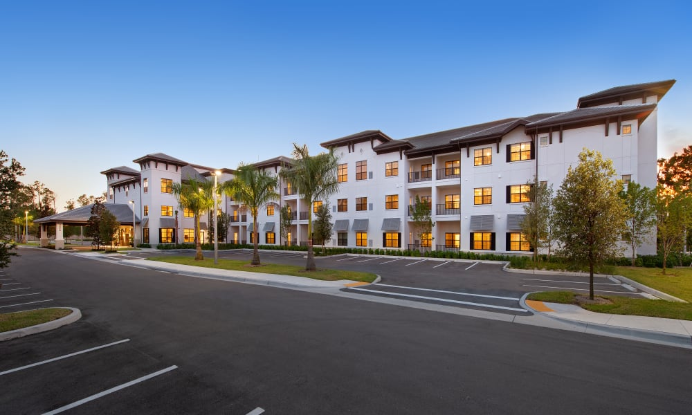 Exterior view from the parking lot of Keystone Place at Four Mile Cove in Cape Coral, Florida