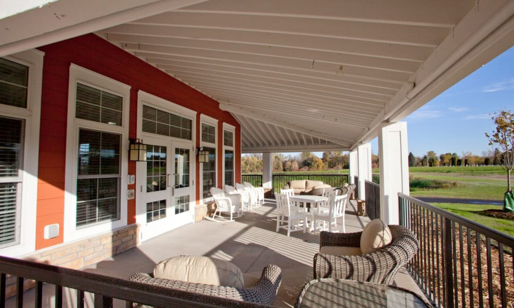 Patio seating at Keystone Place at LaValle Fields in Hugo, Minnesota