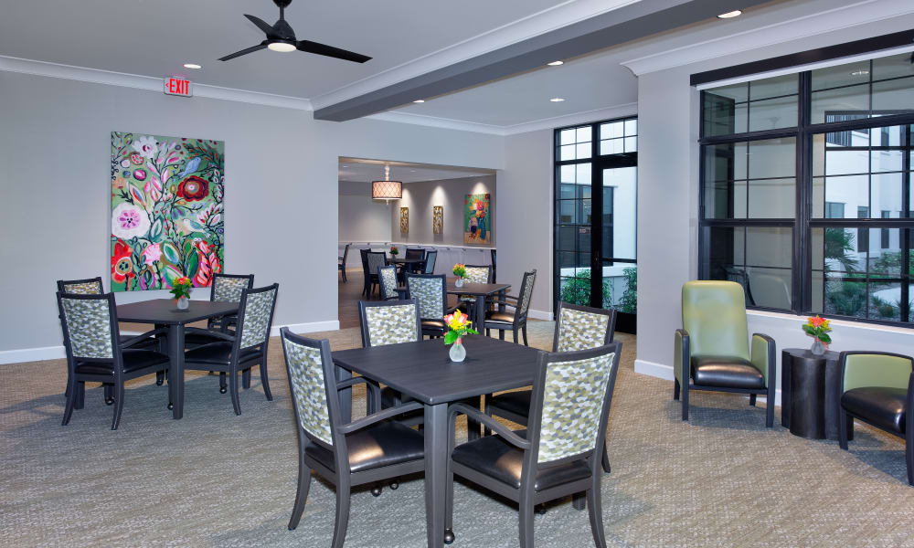 Memory care dining room at Keystone Place at Naples Preserve in Naples, Florida