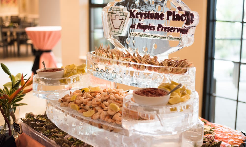 A decorated shrimp platter at Keystone Place at Naples Preserve in Naples, Florida