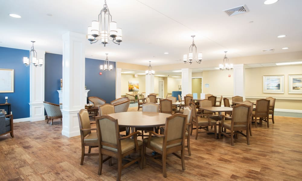 Memory care dining room at Keystone Place at Wooster Heights in Danbury, Connecticut
