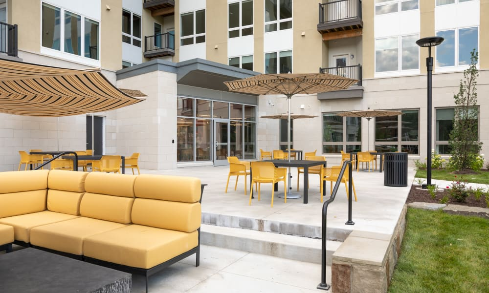 Plenty of outdoor seating at 50 Front Luxury Apartments in Binghamton, New York