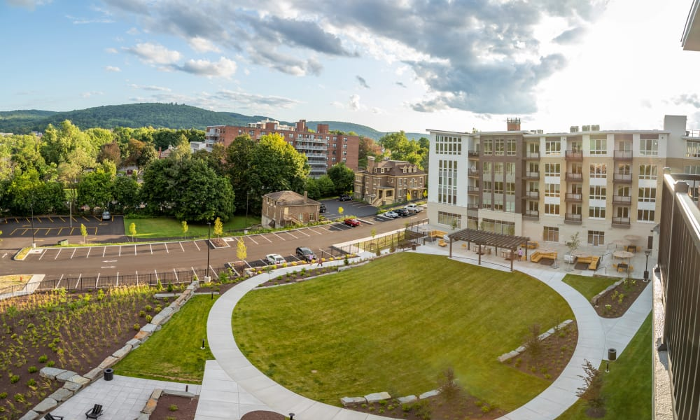 Aerial photo of 50 Front Luxury Apartments in Binghamton, New York