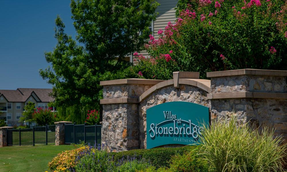 The sign in front of Villas at Stonebridge in Edmond, Oklahoma
