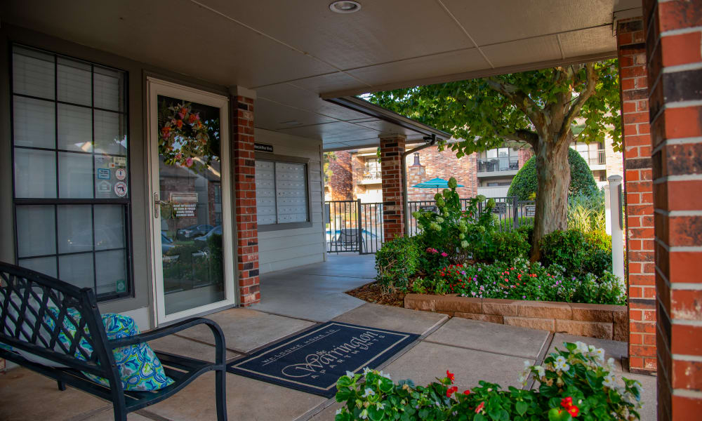 An apartment porch at The Warrington Apartments in Oklahoma City, OK