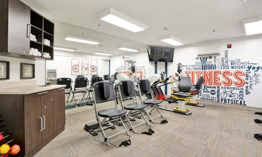 fitness room at The Commons at Dallas Ranch
