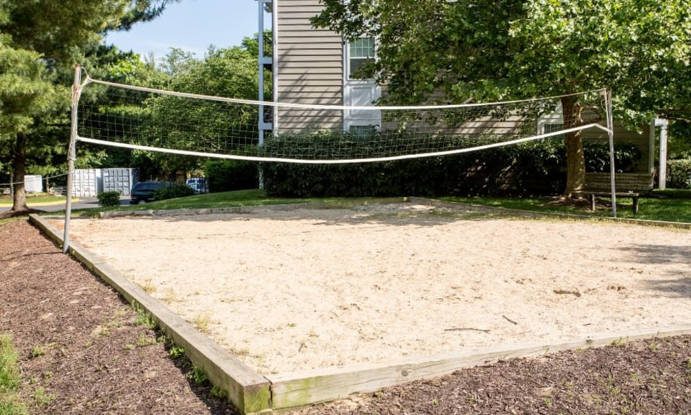 Sand volleyball court at Abbotts Run Apartments in Alexandria, Virginia.