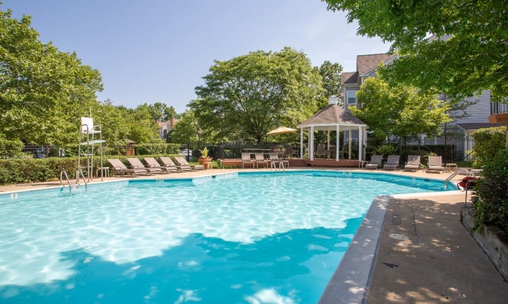 Resident swimming pool at Abbotts Run Apartments in Alexandria, Virginia