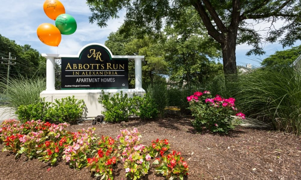 Entry sign at Abbotts Run Apartments in Alexandria, Virginia.