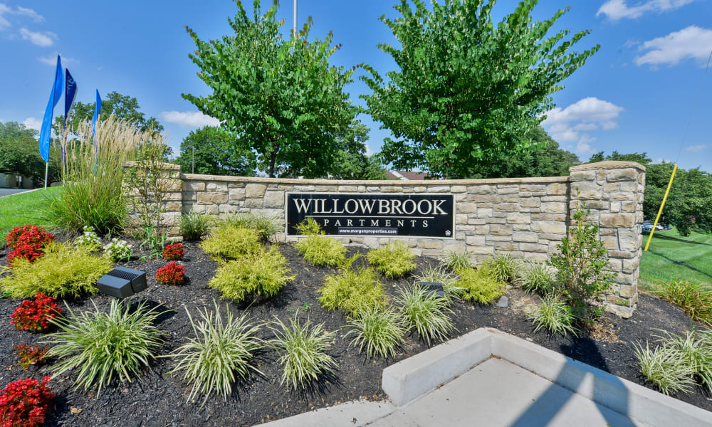 Entry Signage at Willowbrook Apartments in Jeffersonville, Pennsylvania
