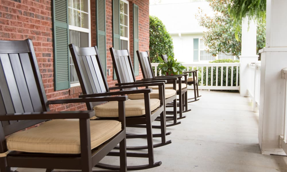 Seating on the porch at The Legacy at Hawthorne Park in Greenville, South Carolina
