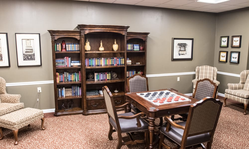 Reading room at The Legacy at Hawthorne Park in Greenville, South Carolina