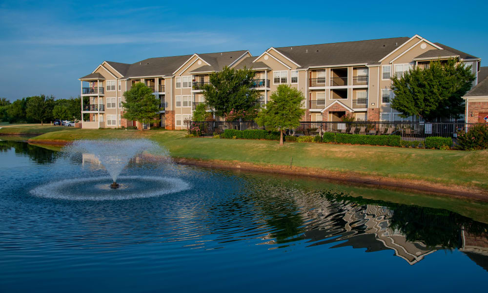 A large fountain in front of Prairie Springs in Oklahoma City, Oklahoma