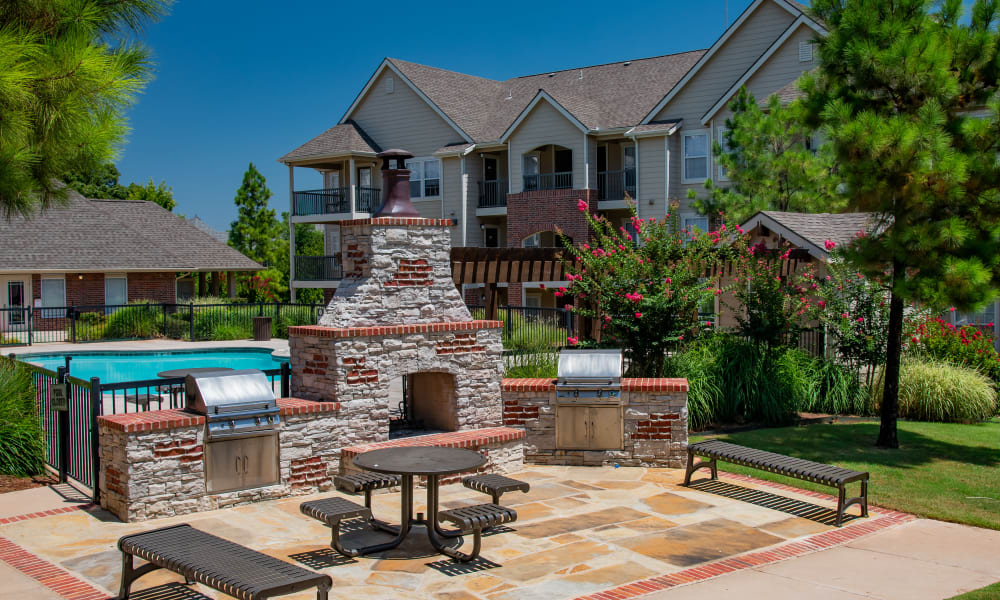 A large outdoor patio at Fountain Lake in Edmond, Oklahoma
