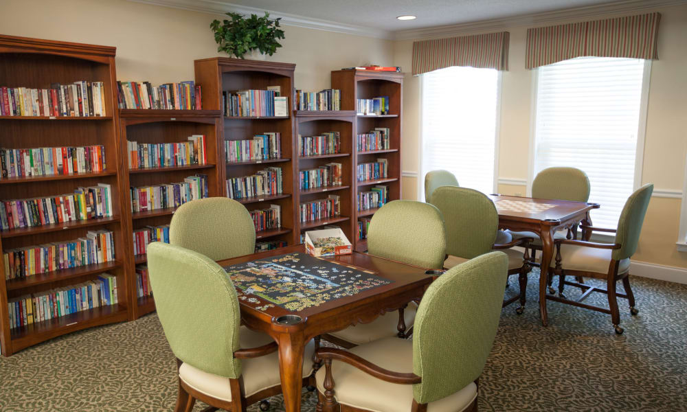Game room with lots of books at The Island Cove at Hilton Head in Hilton Head, South Carolina