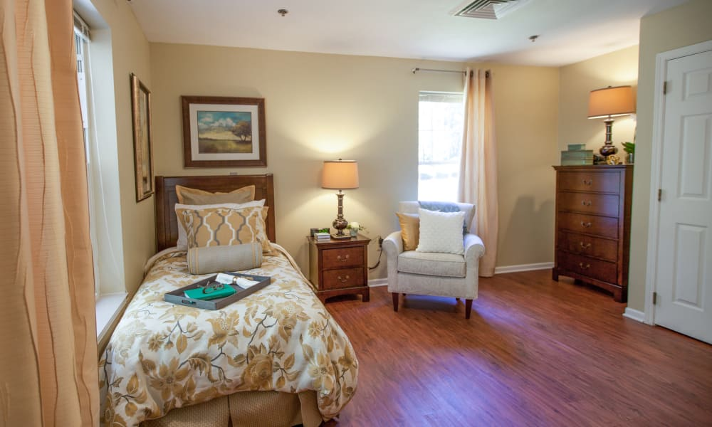 Bedroom at Harbor Cove Memory Care in Hilton Head, South Carolina