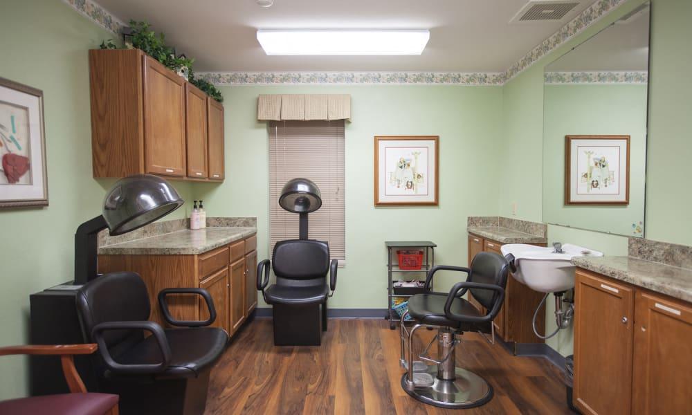 Hair salon at Harbor Cove Memory Care in Hilton Head, South Carolina