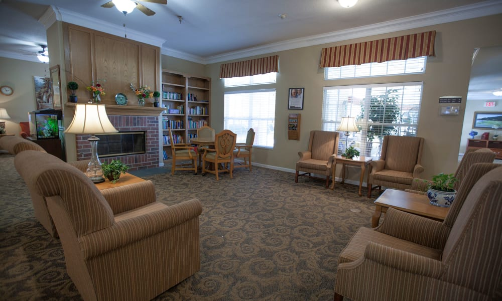 Seating area in the main hall at Village Cove Assisted Living in Hilton Head, South Carolina