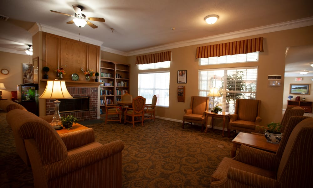 Reading room at Village Cove Assisted Living in Hilton Head, South Carolina