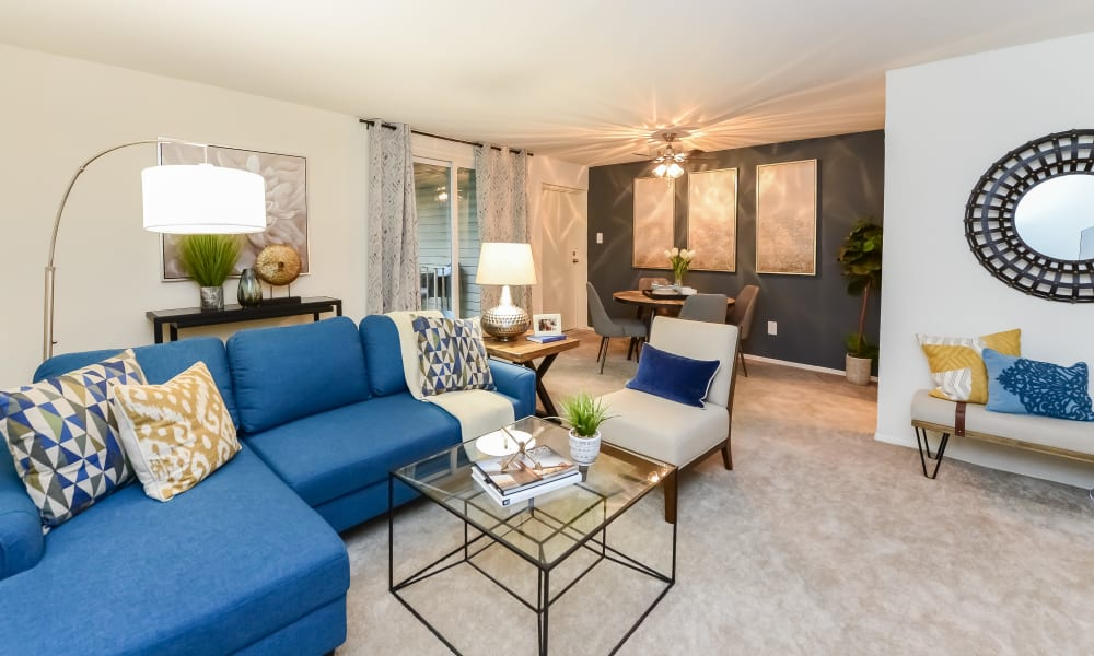 Beautiful Living Room at Sherwood Crossing Apartments & Townhomes in Philadelphia, Pennsylvania