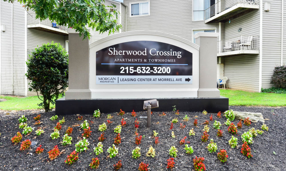 Entry Signage at Sherwood Crossing Apartments & Townhomes in Philadelphia, Pennsylvania