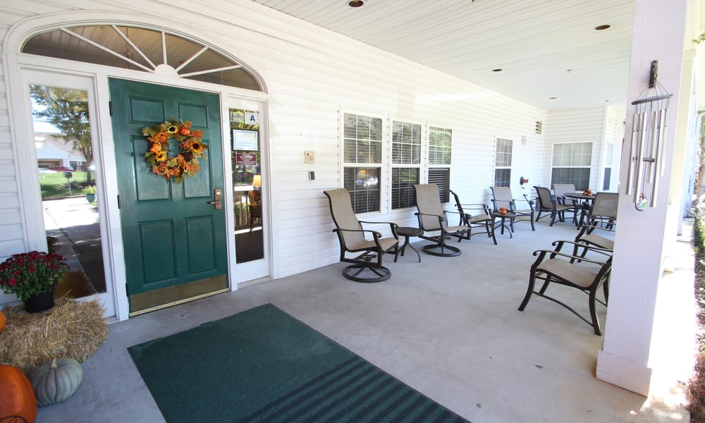 Seating on the front porch at Chandler Place Independent Living in Rock Hill, South Carolina