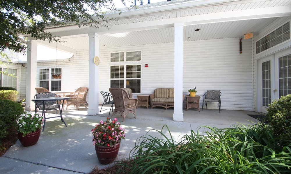Front Porch in front of Chandler Place Independent Living in Rock Hill, South Carolina