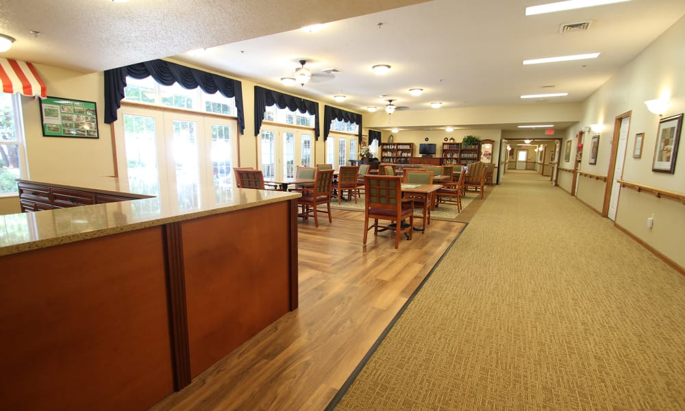 Dining hall at Chandler Place Independent Living in Rock Hill, South Carolina