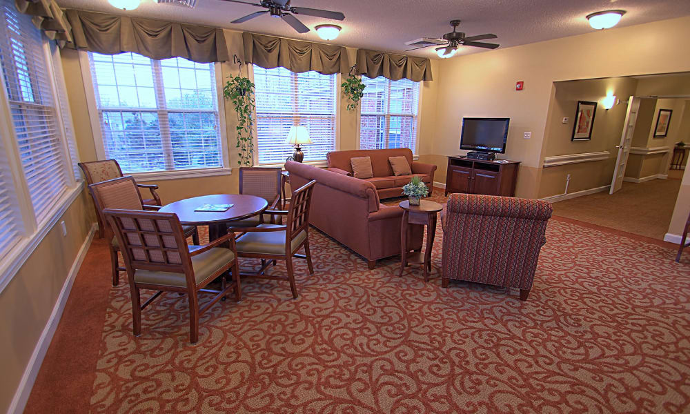 Seating in a lounge at Chandler Place Assisted Living & Memory Care in Rock Hill, South Carolina