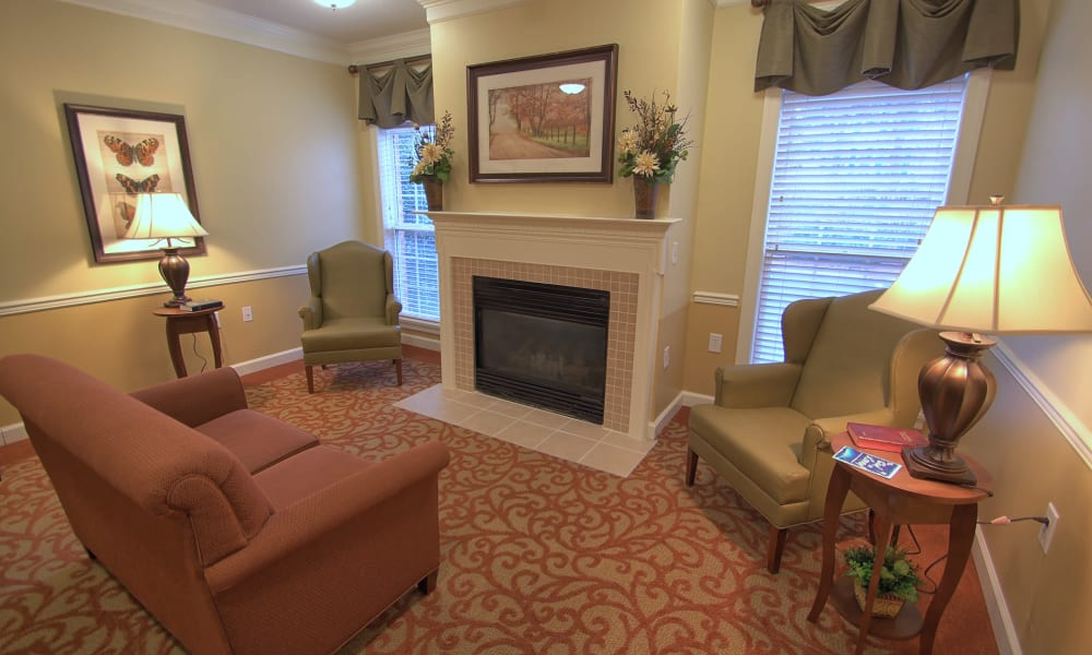 Fireside seating at Chandler Place Assisted Living & Memory Care in Rock Hill, South Carolina
