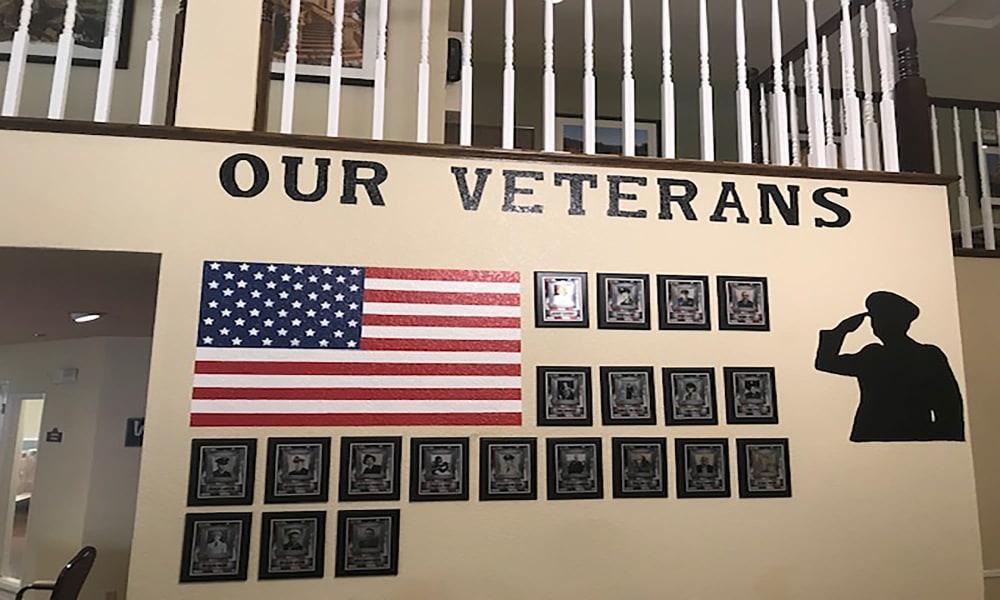 Veterans wall at Blossom Vale Senior Living in Orangevale, California