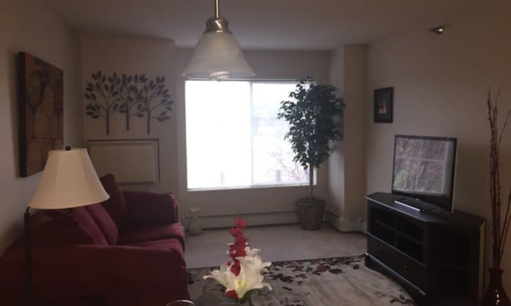 A living room with a large window at Parkway Gardens Senior Apartment Community in Saint Paul, Minnesota