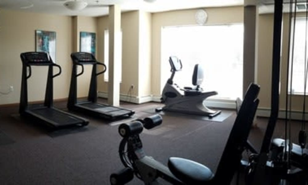 A fitness with individual workout stations at Parkway Gardens Senior Apartment Community in Saint Paul, Minnesota