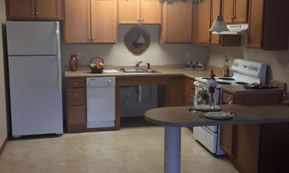 A spacious kitchen at Parkway Gardens Senior Apartment Community in Saint Paul, Minnesota